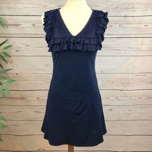 Esley Navy Ruffle Trim V Neck Dress